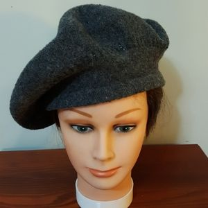 Nine West Beret Style Cap Charcoal Wool Blend